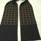 Pre-shaped silk ascot stylized windowpane check navy self fringe ends mint LA CO vintage ll3441