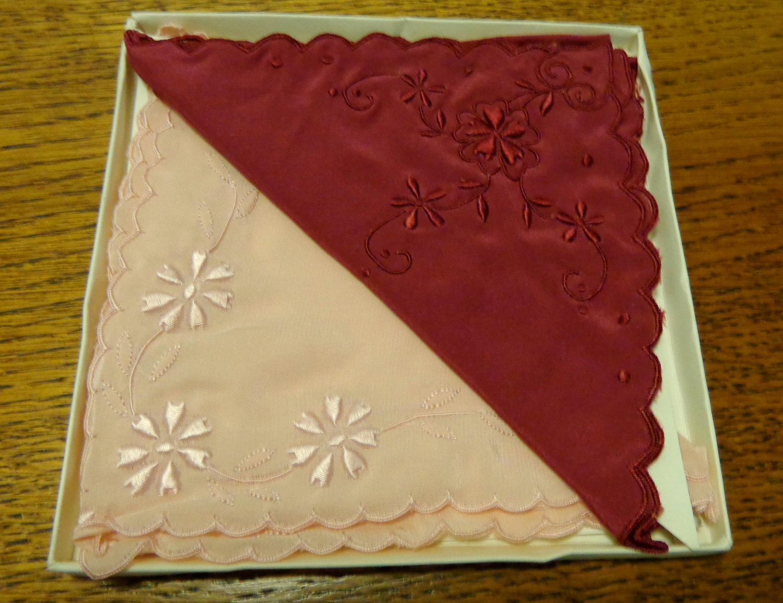 Boxed set of 2 hand embroidered silk hankies pink burgundy Shanghai unused vintage ll3443