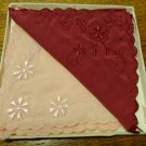 Boxed set of 2 hand embroidered silk hankies pink burgundy Shanghai unused vintage ll3443