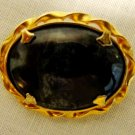 Black jasper in gold plate brooch twist frame vintage ll3445