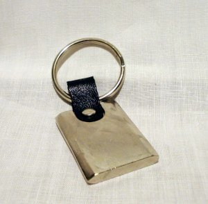 Steel and leather engravable key chain unisex vintage ll2635