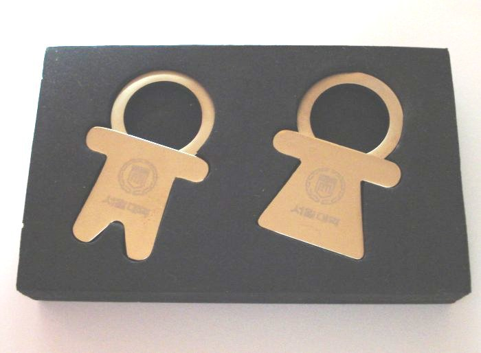 His and Hers key holders rings chrome plated mint in box advertising ll1303