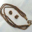 Demi Parure 3 strand copper glass jet bead necklace earrings Vintage jewelry ll2061
