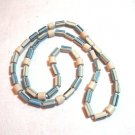 Ceramic bead rope necklace matte finish blue white vintage jewelry ll1417