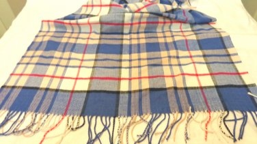 Gap winter scarf or stole red white blue plaid fringe cozy preowned unused ll3457