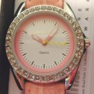 Croton Manhatten watch pink gator stamped leather strap rhinestone bezel new boxed warranty ll3458