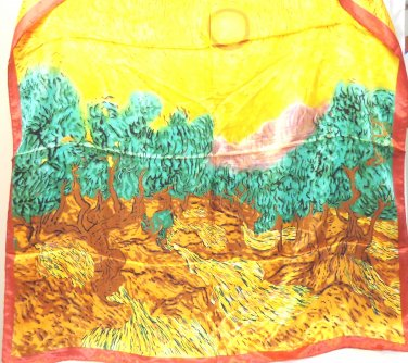 Van Gogh inspired synthetic scarf trees sun fields large vintage square ll3459
