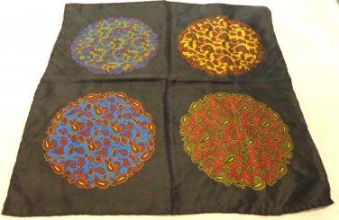 Man's pocket puff handkerchief Abbey silk 4 way paisley rolled hem excellent ll3463
