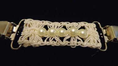 Macrame and pearls unique sweater guard silver tone clips excellent vintage ll3472