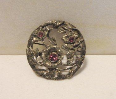 Coro February brooch primrose amethyst pot metal signed antique vintage ll3473