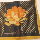 2 Complimentary acetate scarves plaid and large flower earth tones vintage ll3478
