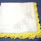 Antique embroidered threadwork linen hanky crocheted lace edge perfect ll1466