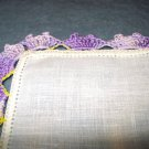 Antique linen hanky with lavender crocheted lace edging ll1472
