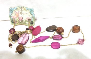 Monsoon 2 strand necklace rope length mixed beads unused vintage ll3316