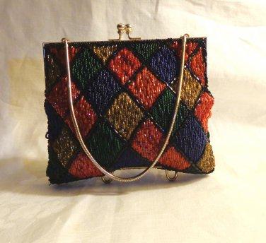 Argyle plaid all bead evening bag DuVal handmade Hong Kong wrist chain vintage excellent ll3490