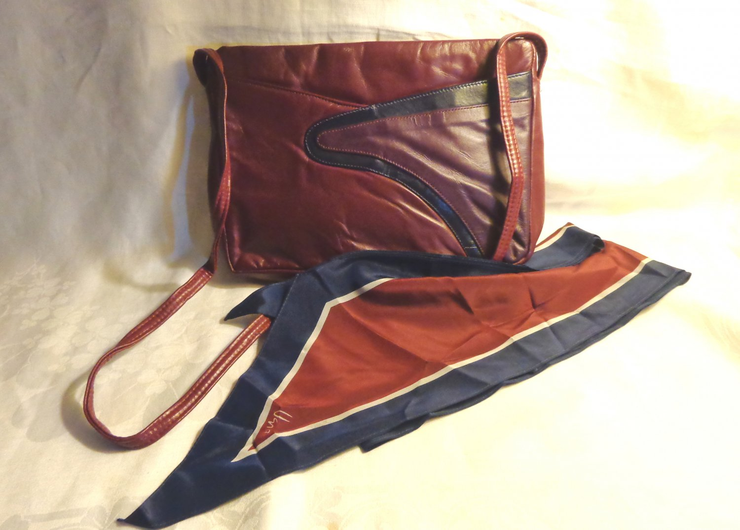 Naturalizer tri-color leather shoulder bag and Vera bias cut scarf burgundy both vintage ll1594