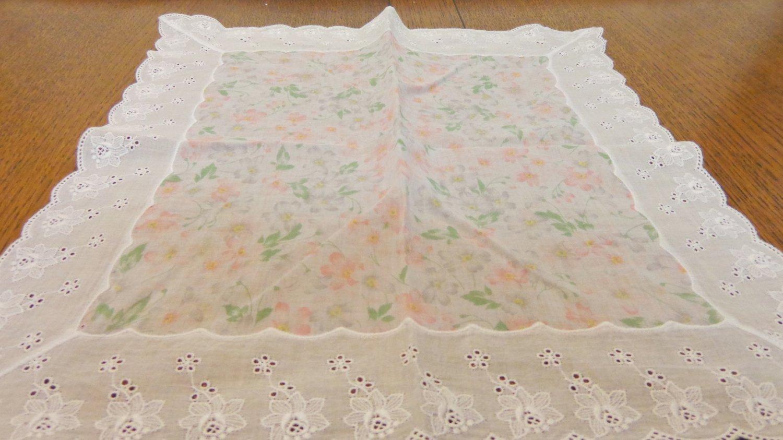 Feminine cotton scarf, hanky bandana floral white eyelet trim vintage 14  inches ll3501