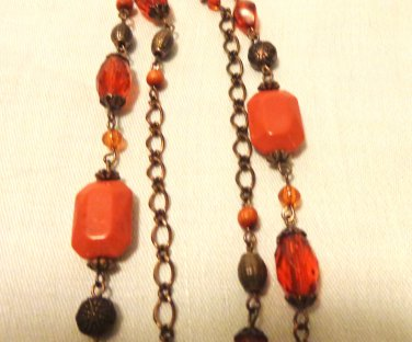 Bronze and amber bead and chain rope necklace excellent mid century vintage ll3505