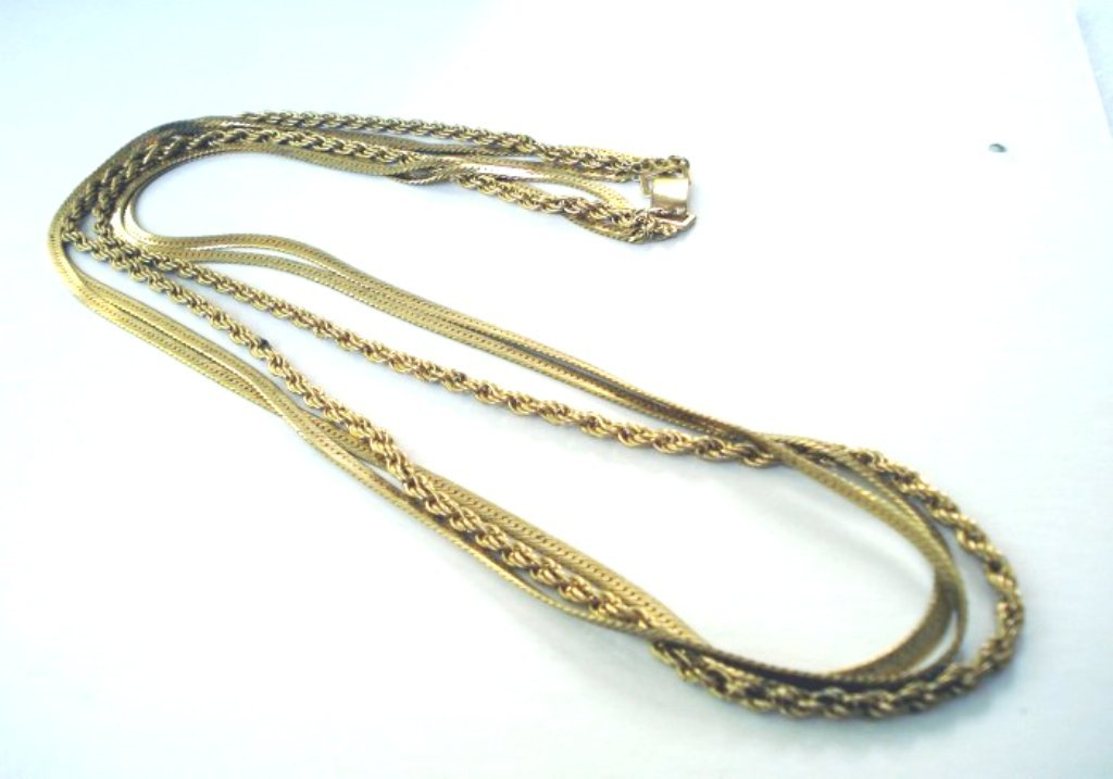 Triple strand gold tone plate opera length necklace excellent vintage ll2684