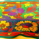 Liz Claiborne neckline silk scarf vivid colors stylized flowers bias cut vintage 70 inches ll3513