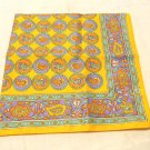 Paisley acetate scarf bright orange, green, taupe vintage 20 inches square ll3514