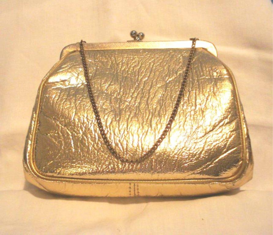 Gold leatherette evening bag purse wrist chain excellent vintage ll2736