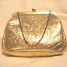 Gold leatherette evening bag purse wrist chain excellent vintage ll2736