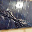 Navy blue eelskin clutch or shoulder bag classic style bow trim looks unused vintage ll3518