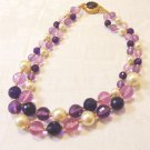 2 Strand vintage bead necklace shades of purple, lavender and pearl 25 inches perfect ll3520