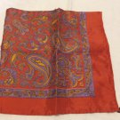Cartier small silk scarf paisley 19 inches square burgundy hand rolled hem as new ll3524