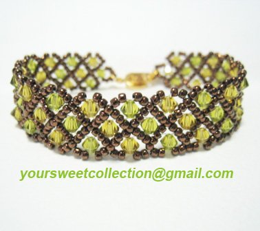 Swarovski Crystal Green Brown Bracelet Bangle FREE SHIPPING !!