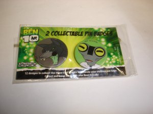 New lot of 2 Ben 10 collectable badges lapel hat pin birthday party gift
