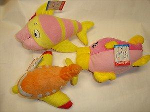 "Used 3 ICHINI-SAN fish plane aircraft airplane 4""-6"" stuffed plush doll figure"