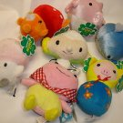 "Used 7 Happy RURU 4.25""-5.25"" whale globfish etc.stuffed toy plush doll figure"