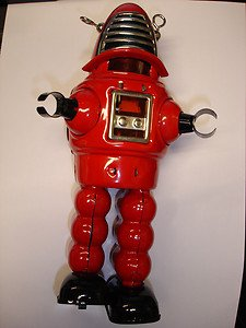 "Damaged & not working Mechanical planet wind up tin 8.5"" robot"