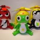 "Lot of 3 Keroro Gunso Tamama Keroro Giroro 4"" tall plastic figure hand handy fan"