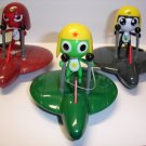 "Lot of 3 cute pull back Keroro Gunso Keroro Tamama Giroro 3.25"" plastic figure"