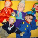 "Used 5 Pcs 10"" to 11"" tall cute Theatre hand puppet show hand puppets"