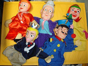 """Used 5 Pcs 10"""" to 11"""" tall cute Theatre hand puppet show hand puppets"""