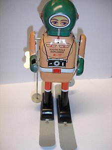 """Used & not working 8.5"""" tall South Pole Explorer B-17 wind up tin toy robot"""