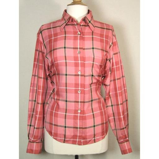 ELLEN TRACY Coral Silk Plaid Button Down Shirt Top- Size 10