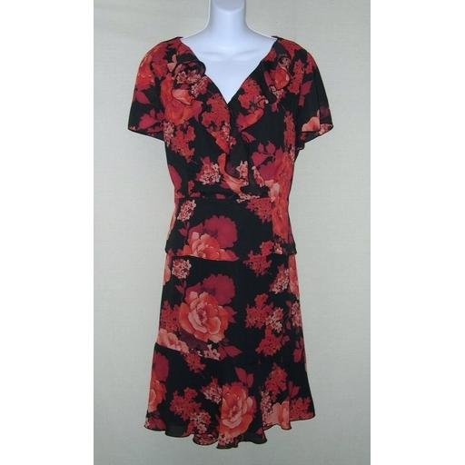 Black Floral NORTON McNAUGHTON 2-Pc Dress- Size 10/ 12