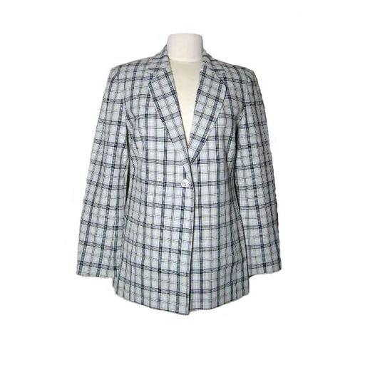 New ADOLFO Tan/ Black Linen Blend Blazer- Size 4