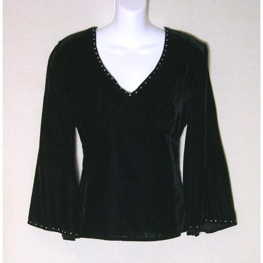 New CAROLE LITTLE Black Velvet / Rhinestone Top- Size M