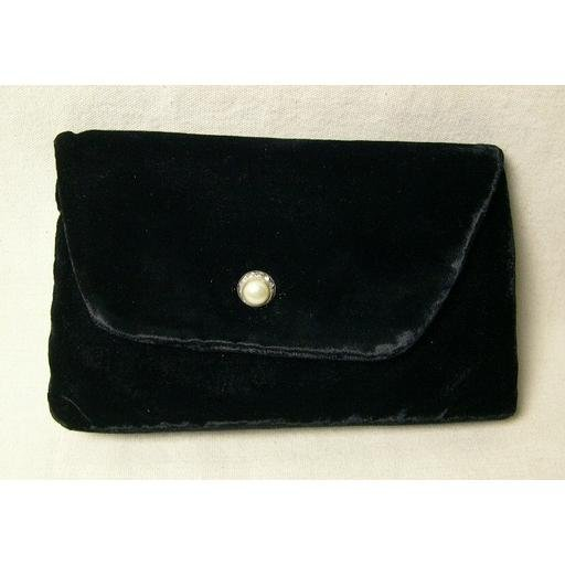 Vintage Black Velvet 1950's Child's Purse