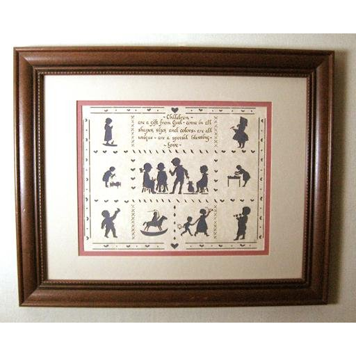 Cutout Paper Silhouette Art- Playing Children, Framed