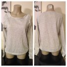 Grey Rhinestone Studded Cold Shoulder Sweatshirt Small