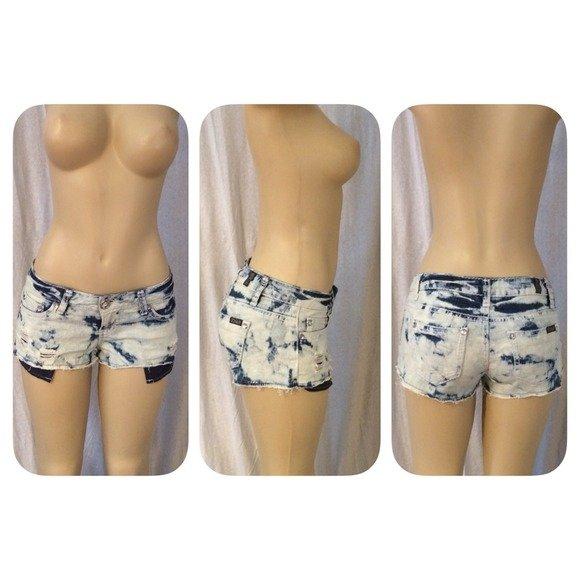 Bleached/Bling Destructed Denim Shorts Size 5