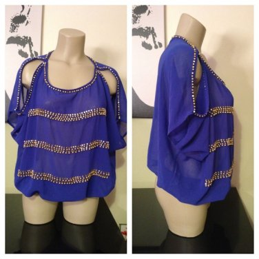 Royal Blue Sheer Cold Shoulder Blouse with Gold Beading Small