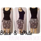 Black/White Peplum Bodycon Skirt Medium